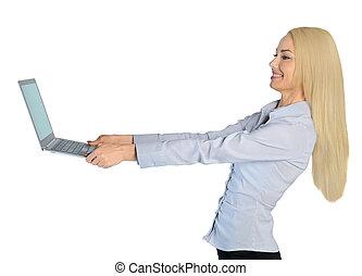mulher, computador, negócio, feliz