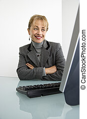 mulher, computer.