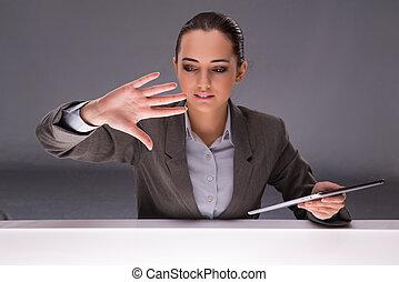 mulher, conceito, computador, negócio, tabuleta