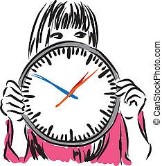 mulher, conceito, illus, relógio tempo