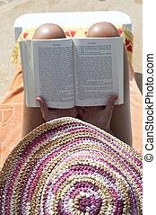 mulher, -, conceito, relaxamento, livro leitura