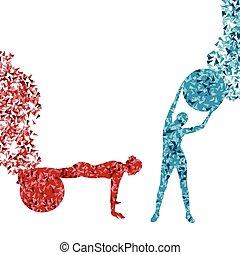 mulher, condicão física, exercícios, ligado, esfera aptidão,...