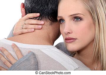 mulher, confortando, dela, husband.