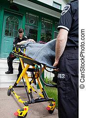 mulher, conforto, ambulância