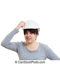 mulher, confundido, engenheiro