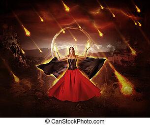 mulher, conjured, meteoro, fogo, chuva, inflamável, mage