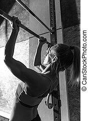 mulher, construído, atlético, poço, queixo, ups