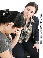 mulher, consultor, ou, jovem, psicólogo, conversação