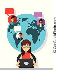 mulher, conversando, pessoas, laptop, sentando, bolhas, globo