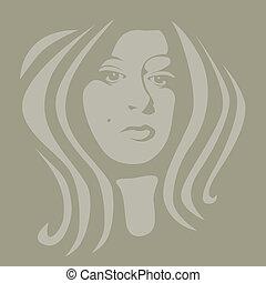 mulher, cor, jovem, ilustração, rosto, 2
