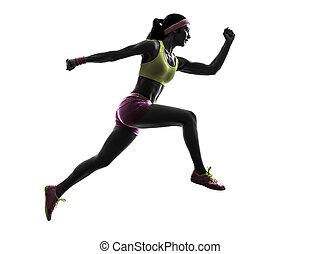 mulher, corredor, executando, pular, silueta