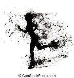 mulher, corrida, silhuetas, isolado, respingo tinta, menina...