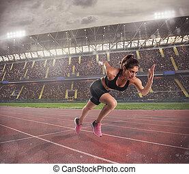 mulher, corridas, em, um, raça, para, a, estádio