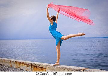 mulher, costa mar