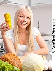 mulher, cozinha