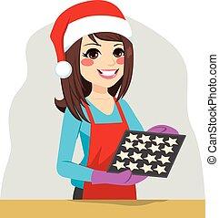 mulher, cozinhar, biscoitos natal