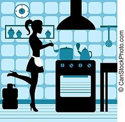 mulher, cozinhar, cozinha