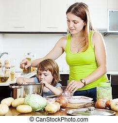 mulher criança, fazer, sopa