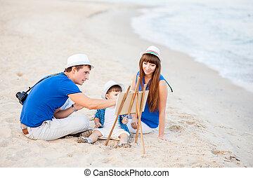 mulher, criança, praia, homem, sentar