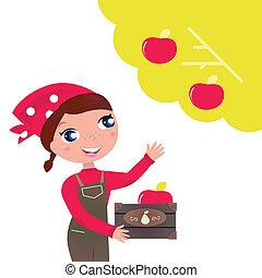 mulher, cute, outono, maçãs, colher, jardim
