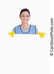 mulher da limpeza, mostrando, um, branca, painel