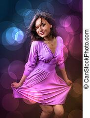 mulher, dança, -, parte nightlife, feliz