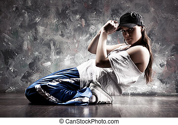 mulher, dançarino, jovem