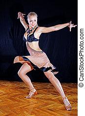 mulher, dançarino, salão baile