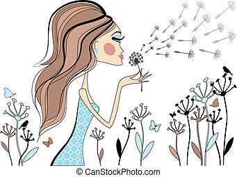mulher, dandelion