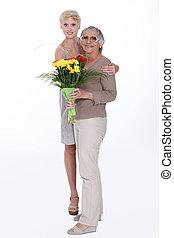 mulher, dar, dela, mãe, flores