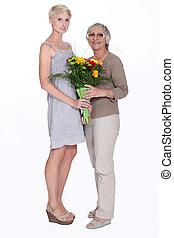 mulher, dar, dela, vó, flores
