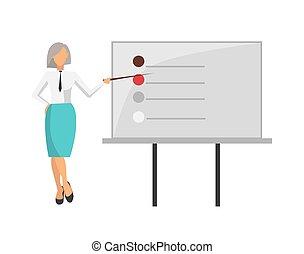 mulher, dar, informação, ligado, vetorial, ilustração