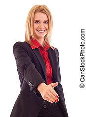 mulher, dar, mão, para, aperto mão