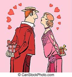 mulher, dar, par, valentines, presentes, dia, homem
