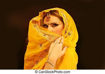 mulher, de, índia