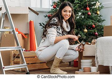 mulher, decorações natal