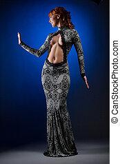 mulher, decote, mergulhando, posar, excitado, vestido