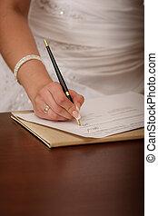 mulher, dela, agenda, escrita