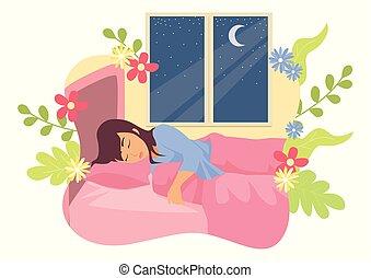 mulher, dela, cama, dormir