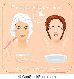mulher, dela, cuidados, jovem, rosto, mask., facial, care.