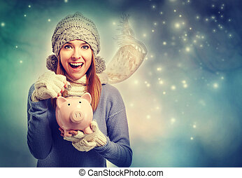 mulher, dela, dinheiro, jovem, depositar, cofre, feliz
