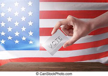 mulher, dela, jovem, barraca, voto, votando
