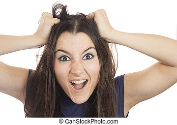 mulher, dela, jovem, cabelo, rasgando, saída