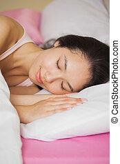 mulher, dela, jovem, cama, dormir, asiático, bonito