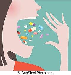 mulher, dela, lançamento, boca, lote, pílulas