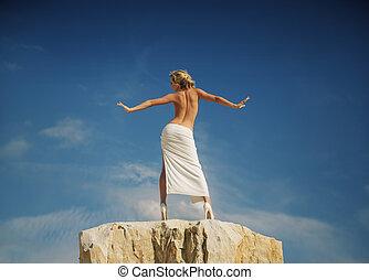 mulher, dela, mostrando, costas, pelado, metade