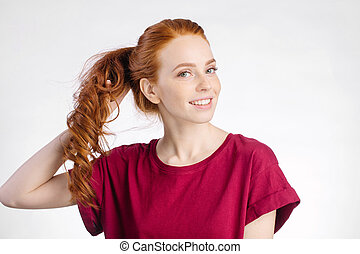 mulher, dela, saudável, estúdio, cabelo, segurando, ruivo, branca, brilhante