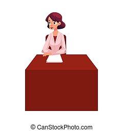 mulher, dela, sentando, doutor, jovem, terapeuta, escrivaninha