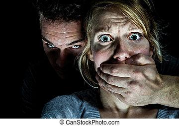 mulher, dela, vítima, ponha, silêncio, namorado