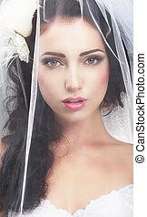 mulher, delicacy., caucasiano, tradicional, atrás de, véu ...